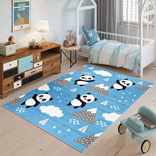 Tapiso Jolly Teppich Kurzflor Kinderzimmer Jugendzimmer Schlafzimmer Spielmatte Blau Grau Panda Design 140 x 200 cm