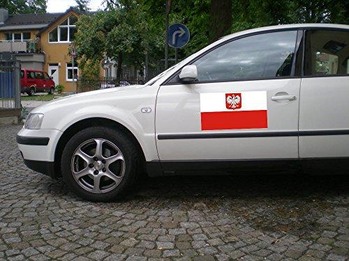 Automagnet/Magnet mit Flagge POLEN mit Adler / Wappen, zirka 40 x 30 cm