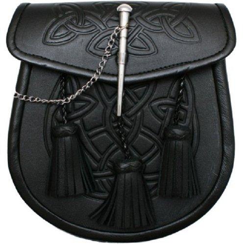 Tartanista Mens Black Celtic Pin Lock Semi-Dress Sporran