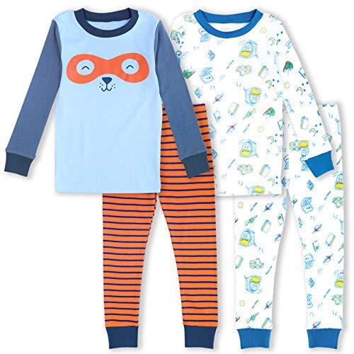 GLASH Kids Boys Pajamas 4-Piece Pjs 100% Cotton Sleepwear Toddler Kids , Hero School, 5T
