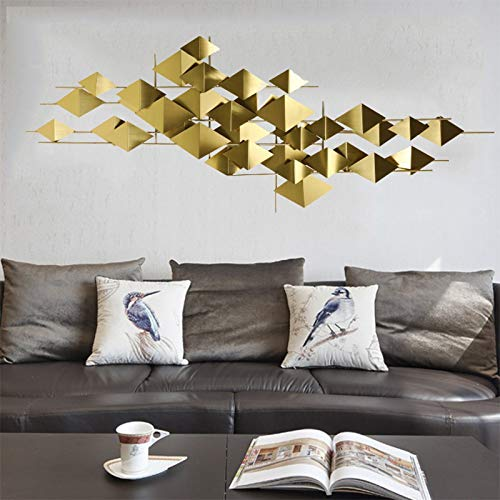 WJQQ Decoración Geométrica para Pared, Minimalista Creativa Hecho a Mano Escultura de Pared para Hogar, Oficina, Tienda, Pasillo, Dormitorio, Baño, Dorado180*90CM