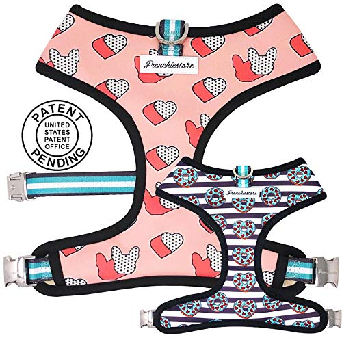 Frenchiestore Vet Approved Dog Harness No-Pull Pet Harness Pet Vest Easy Control for Medium Small Large Dogs Front Leading Harness   Frenchie Love