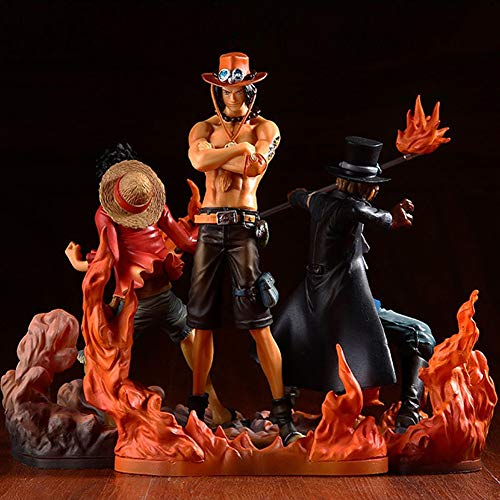 Lupovin 3pcs / Set Anime Action-Figur One Piece Bruderschaft II Puma D. Ace Sabo Monkey D. Ruffy Bruder Kampf Ver PVC 14~17cm Puppe