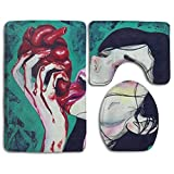 NiYoung Bathroom Rug Set 3-Piece Memory Foam Anti-Slip Cool Gothic Girl Eat Heart Shower Bath Rugs Include U-Shaped Toilet Rug, Toilet Seat Cover Mat and Bath Rug - Combination of Luxury and Comfort