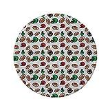 Tapis de souris rond en caoutchouc antidérapant football américain casque et balles de rugby de style dessin animé jeu de culture américaine Touchdown décoratif multicolore 7.9'x7.9'x3MM