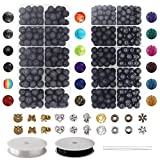 754pcs Lava Beads Kit, Lava Stone Rock Beads Chakra Beads Spacers Beads with 2 Rolls Elastic String and Needles for Essential Oils Bracelet Necklace Jewelry Making (8mm 6mm)