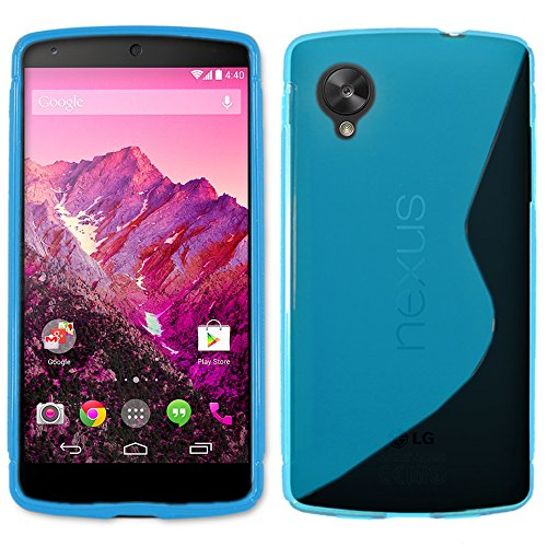 ebestStar - Funda Compatible con LG Nexus 5 E980 Carcasa Gel Silicona Gel TPU Motivo S-línea, S-Line Case Cover, Azul [Aparato: 137.84 x 69.17 x 8.59mm, 5.5'']