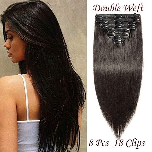 Silk-co [8 Pièces 18 Clips] Extension A Clip Cheveux Naturel Double Weft Epais Lisse 100% Clip In Hair Extension Remy Hair 16 Pouces - #1 Noir Foncé