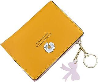 KLOP256 Cartera de mujer de cuero PU Daisy Print monedero portátil suave pequeño delgado plegable con colgante de la tala ...