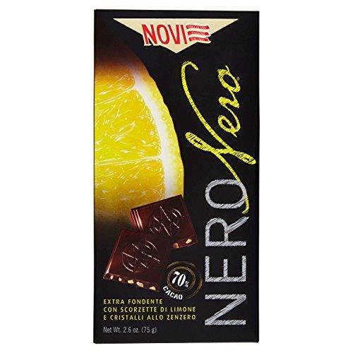 Novi Ciocccolato Nero Extra Fondente con Scorzette di Limone e Cristalli allo Zenzero 70% Cacao, 75g