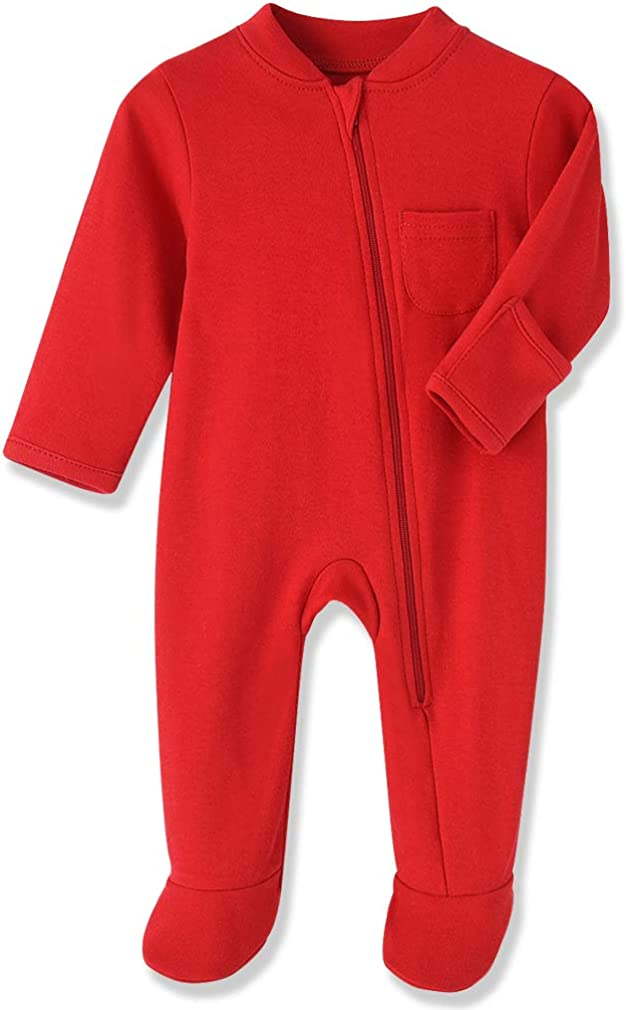 Eleven's Kingdom Baby Kids Sleep and Play Baby Cotton Pajamas Zip Front Footed Sleeper 0-12 Month