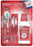 Colgate Luminous White Cepillo + Pasta Dental + Enjuague, Kit de Limpieza Bucal,...