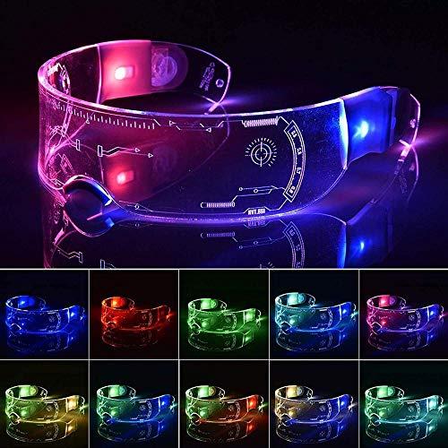 Gafas de visera LED - 256 combinaciones de flash variadas - 7 colores en uno gafas iluminadas, gafas futuristas Cyberpunk para Halloween Rave Festival suministros de fiesta