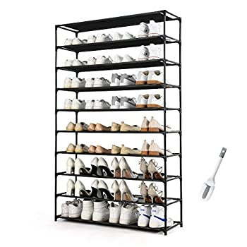HODYANN 50 Pairs Shoe Tower Non-woven Fabric&Metal Storage Cabinet 10 Tiers Shoe Rack for entryway
