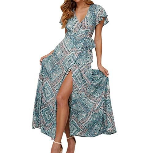 Auifor vrouwen Boho jurk, print bat, korte mouwen, low cut, strandvrij, casual losse mini-zomerjurk, V-hals, lange mouwen, met sleuf en uitsparing, rugvrij wit apparaat, chiffon, maxi-jurk, elegant