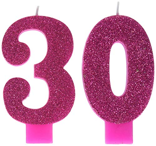 Pink and Gold Milestone '30' Numeral Candles, Party Favor