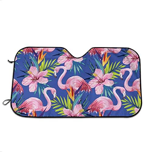 Flamingo Rosa Azul Patrón de Fondo Parabrisas Frontal Parasol Plegable Auto Sun Shade Bloques UV Radios Protector de visera Reflectante Plegable Protector de Calor para Coche Camión SUV