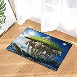 FEIYANG Criaturas mágicas sueño Manta de baño Tortuga Isla Elefante Noah's Ark Alfombrilla Antideslizante Entrada de Piso Alfombrilla de Puerta Interior Alfombrilla de baño para niños 50x80cm