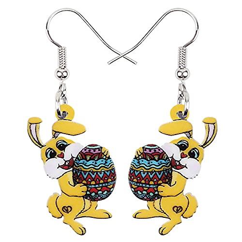 YDXC Acryl Ohrringe Ostereier Blume Kaninchen hübsche Tierfrauen und Mädchen Zubehör gelten für Partys Tanzpartys Strände etc-gelb