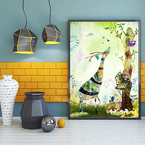 YHJK Imágenes de Arte de Pared Abstracto Cuento de Hadas Mundo sueño Bosque Lienzo Arte Pintura impresión Cartel Imagen bebé niño Dormitorio decoración del hogar 40x60cm sin Marco