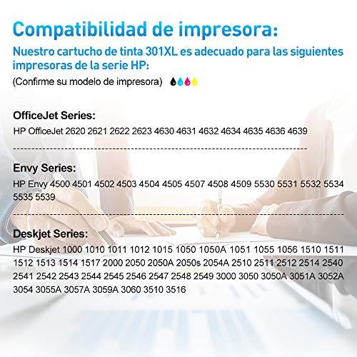 Clywenss 301XL Remanufacturado Cartuchos Compatible con HP 301 XL para Envy 4500 5530 4502 HP Officejet 2622 2620 2622 4630 4632 HP Deskjet 1000 1010 1050 1510 1512 1514 2050 2050A 2510 2540 2544 3050