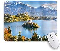 NINEHASA 可愛いマウスパッド コテージコレクションレトロな建物が含まれている中央に島があるブレッド湖スロベニアのパノラマビューコンピューター用に