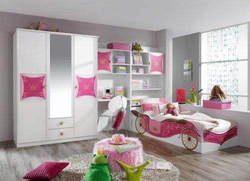 Rauch Möbel Kate Kinder- und Jugendzimmer, Holz, weiß/rosa, 238 x 326 x 199 cm
