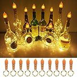 Haocoo Lampe Torche LED, 20 LEDs chauffent Les lumières de fée Blanches Chaudes d'ambiance Bouteille de vin de Fil de cuivre s'allume Bouteille de liège lumière de Ficelle de liège pour la Noce