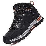 Rokiemen Chaussures de Randonnée Hautes Homme Antidérapantes Extérieure Imperméable Bottes de Marche Trekking Escalade Promenades Sports pour Femme,Noir,45 EU
