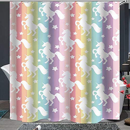 Shower Curtain Set with Hooks Soap Resistant Waterproof Unicorns Colorful Rainbow Stripes Pink Purple Bathroom Decor Machine Washable Polyester Fabric Bath Curtain 71 x 71 inches