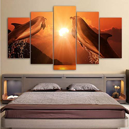 superljl HD Print 5 Stück Leinwand Kunst springen Paar Delfine im Sonnenuntergang große Leinwand Wand Kunst Malerei Poster