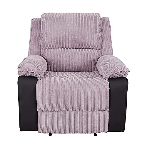Jumbo Cord Fabric And Faux Leather Recliner Reclining Armchair Lounge Home Recline Chair for Living Room Bedroom, Modern Single Sofa Adjustable Armchair (Gray - Manual Recliner)