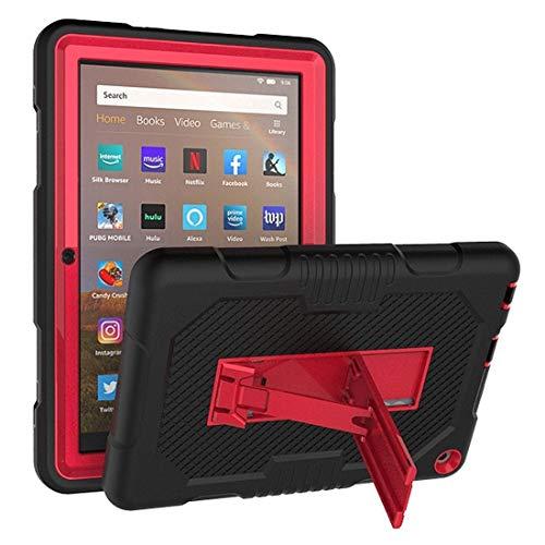 XHEVAT Funda de silicona para tablet Kindle Fire HD 8 (2020), color de contraste + funda protectora de PC con soporte (color: negro + rojo)