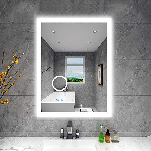 BBE Espejo de baño LED de 800 x 600 mm, con luz regulable, antivaho, montaje en pared (horizontal/vertical) (32 x 24 pulgadas)