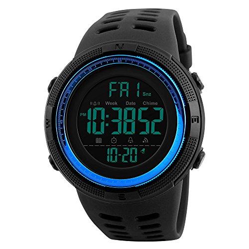 SKMEI, orologio da uomo digitale, con movimento al quarzo giapponese, impermeabile fino a 50m, cinturino in gomma, orologio da polso sportivo