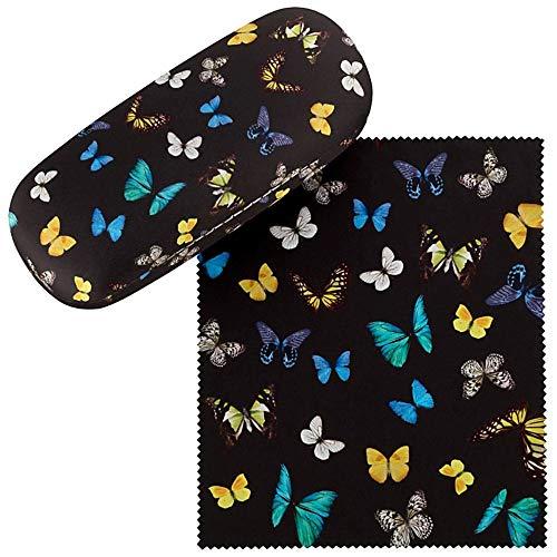 VON LILIENFELD Brillenetui Schmetterlinge Butterfly Schmetterlingstanz Brillenputztuch Brillenbox Stabiles Hardcase Set mit Putztuch
