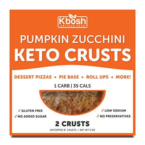 Kbosh Keto Crusts - The #1 Pumpkin Zucchini Keto Pizza Crust - Only 1 Carb & 35 Cals per serving - Delicious, Sugar-Free, Low Carb Crusts for Keto-Friendly Recipes - 4 EZ Store Packs - 8 Crusts
