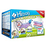 HIBAG Space Saver Bags, 20 Pack Vacuum Storage Bags (6 Medium, 5 Large, 5 Jumbo, 2 Small, 2 Roll Up Bags) with Hand Pump for Bedding, Comforter, Pillows, Towel, Blanket, Clothes