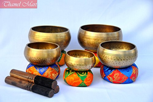 Set of 5 Hand Hammered Singing bowls-tibetan singing bowl-meditation bowls, Healing bowls