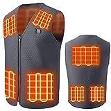 HWZZ Chaleco Calefactable, Chaleco Calefactado Recargable por USB para Mujeres Y Hombres, Chaqueta Eléctrica Mejorada para Caza De Motocicletas,Gris,3XL