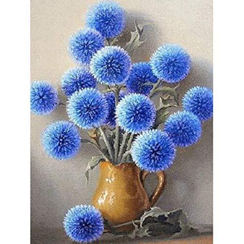 UOOOOF Pintura acrílica para niños y Adultos Principiantes, sin Marco o Lienzo-Flor Bola Azul
