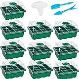 ASY Paquete De 10 Bandejas De Semillas Bandeja De Inicio De Plántulas (12 Celdas por Bandeja), Kit De Germinación De Plantas con Humedad Ajustable Herramientas De Mano (Color : Green, Size : 10pcs)