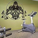 HGFDHG Etiqueta engomada Creativa del Gimnasio del Gorila Fitness Dumbbell Bodybuilding Vinilo Decoración de la Pared Gimnasio