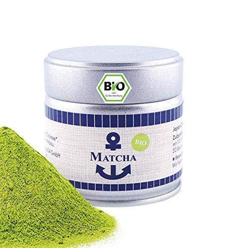 Bio Matcha Pulver, Tee aus Japan, Tee Pulver in der 30 g Dose, süßlich-mild, geeignet für Matcha Latte, Smoothies und zum kochen, Pestizidfrei, natürlich vegan, Grüntee