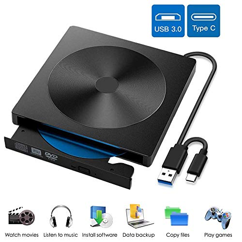 EasyULT Unidad Externa de CD DVD, Portátil Reproductor de Grabadora CD/DVD-RW Lector, con Interfaz Dual USB 3.0 y Tipo C, Compatible con Windows XP / 2003 / Vista / 7/8/10, Linux, Mac OS