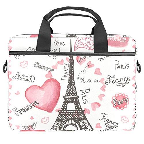 LORVIES Love Paris Eiffelturm Schriftzug Herzen Vintage Französisch Worte Hello Laptop Tasche Schultertasche Messenger Bag Business Sleeve Tragetasche für 14 bis 15,4 Zoll Laptop Notebook