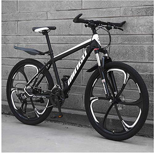 Bicicletas de montaña de 26 pulgadas, bicicleta de montaña rígida para hombres y mujeres con freno de disco doble, asiento ajustable para bicicleta, marco de acero con alto contenido de carbono, (6 ra
