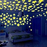 JiaMeng 100PC niños Dormitorio Resplandor Fluorescente en Las Estrellas oscuras Pegatinas de Pared