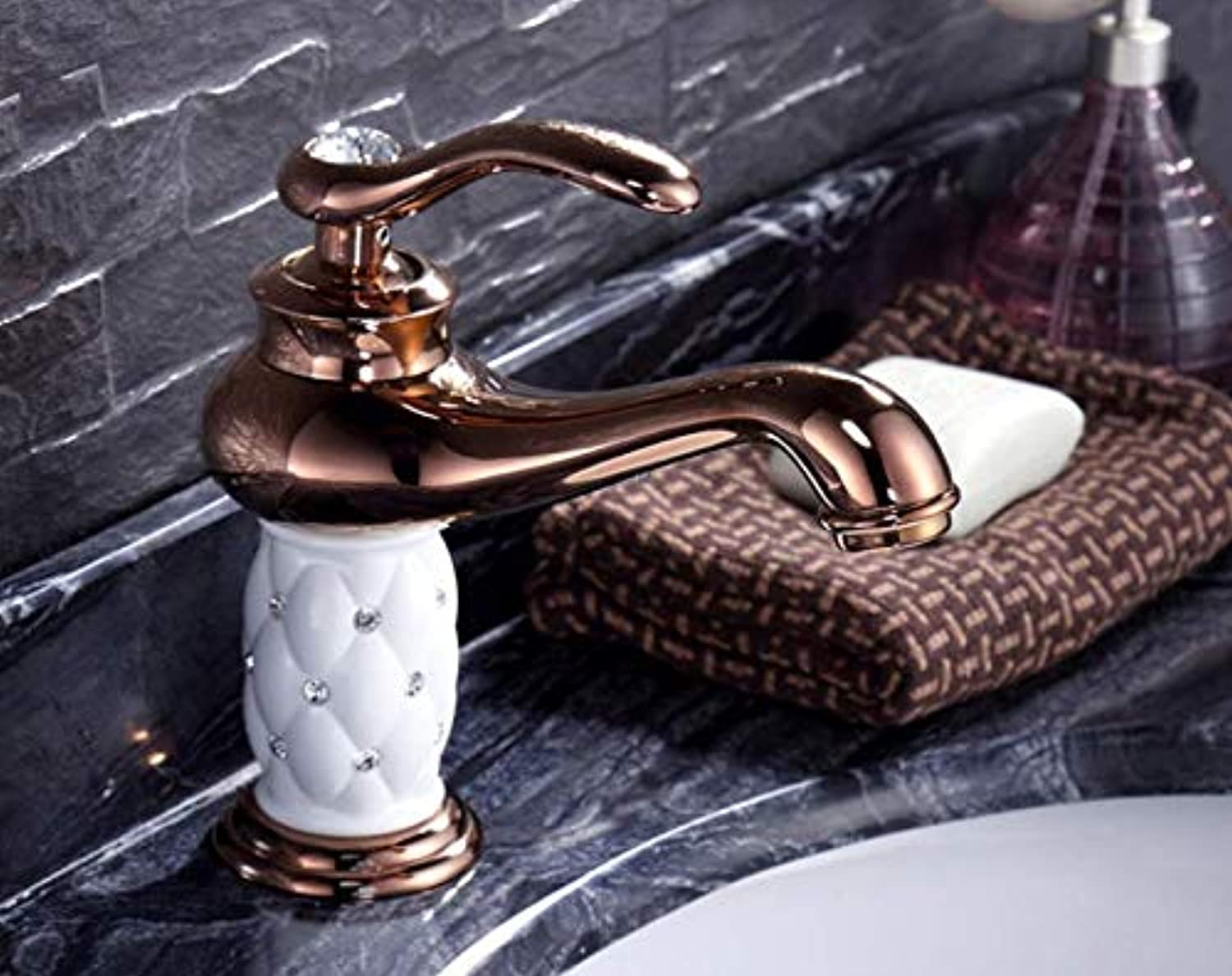 Faucet hot and Cold Basin wash Basin Hand Basin Bathroom Copper European pink gold Crystal Diamond White Paint