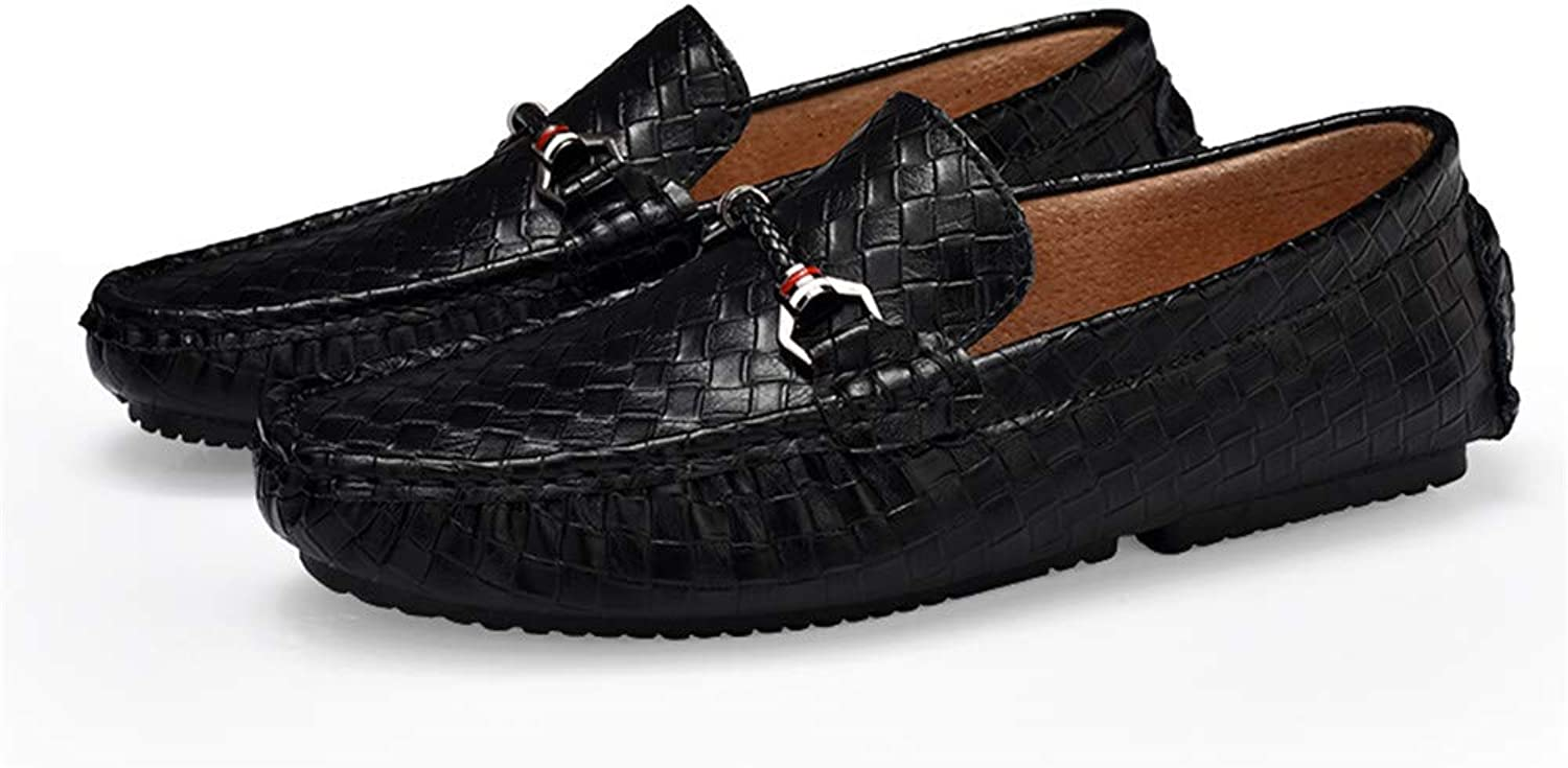 Easy Go Shopping Men's Driving Loafers Casual Braid Solid British Style Genuine Leather Boat Moccasins Cricket shoes